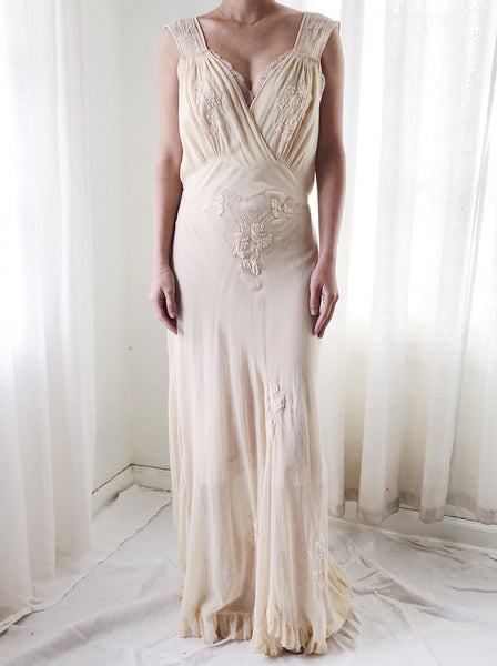1930s Buttercream Sheer Silk Gown with Embroidery - S