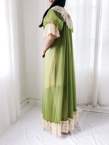 1950s Green Nylon Dressing Gown - One Size