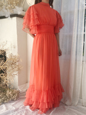 1969s Coral Layered Chiffon Gown - S