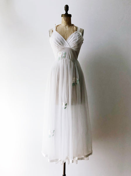 1950s Sheer Tricot Lilypad Slip Dress - XS/S