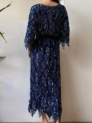 1980s Navy Blue Beaded Set - L