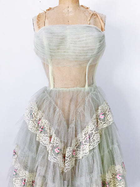 1950s Citrus Green Sheer Tulle Dress - XS