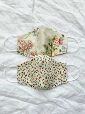 2-in-1 Reversible Linen/Cotton Face Mask - Yellow Florals
