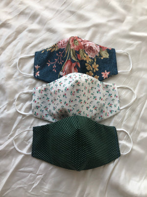 2-in-1 Reversible Teal Florals Cotton Face Mask