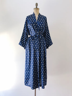 1980s Navy Blue Polka Dot Satin Robe - M