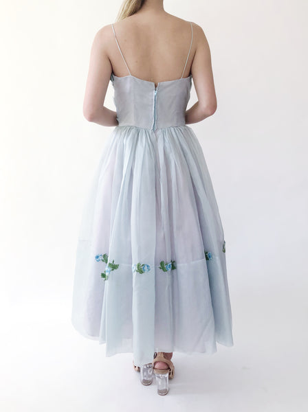 1950s Light Blue Pleated Silk Organza Dress - XS
