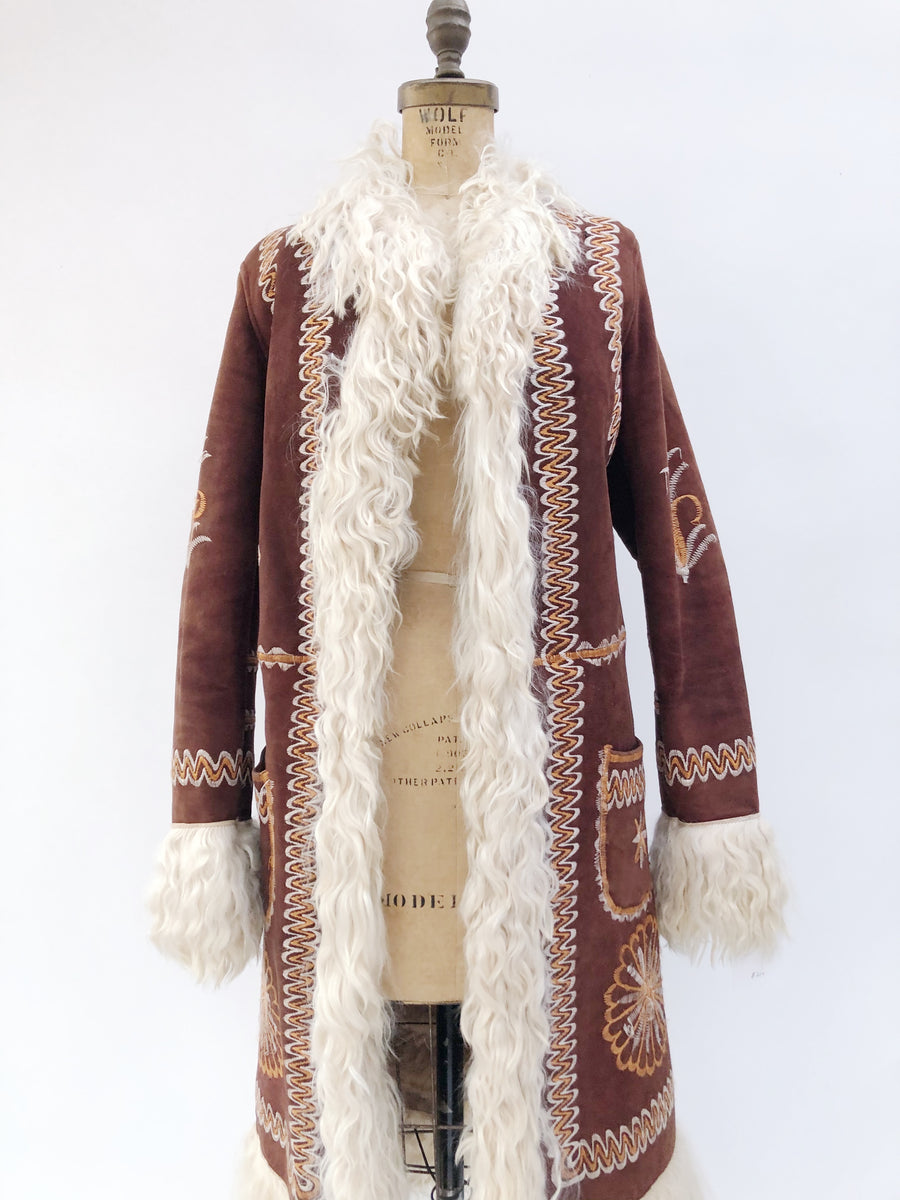 1970s Embroidered Sherpa Jacket - M