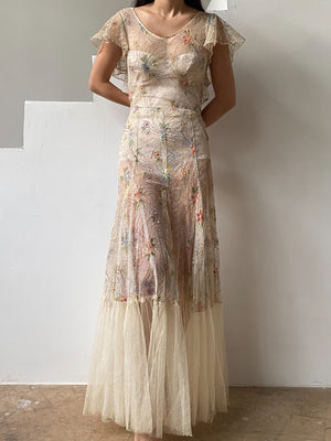 1930s Painted Lace Tulle Dress - S