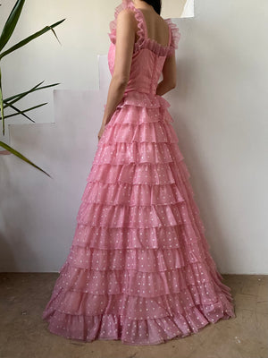 1970s Pink Dotted Tiered Nylon Dress - S/M