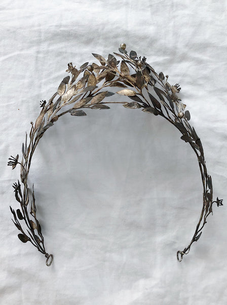 Antique Silver Metal Tiara with Patina