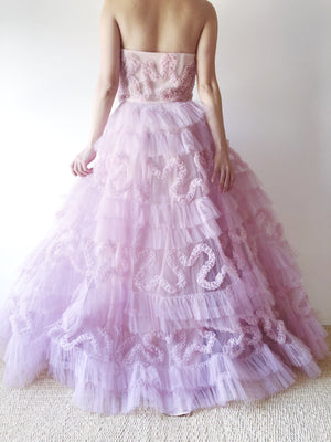 1950s Lilac Tulle Gown -XS