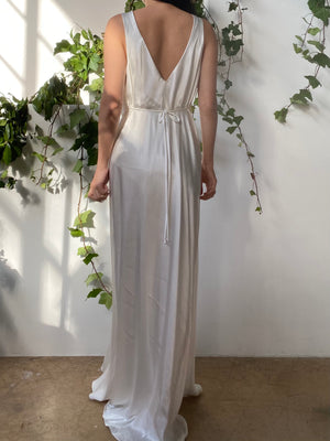 Vintage White Satin Slip Dress - S/M