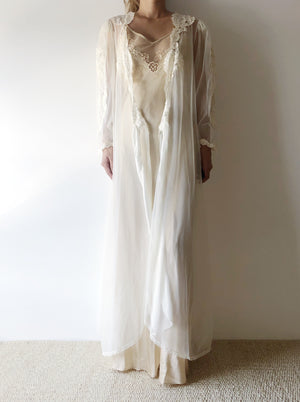 Vintage Sheer Nylon and Lace Robe - One Size