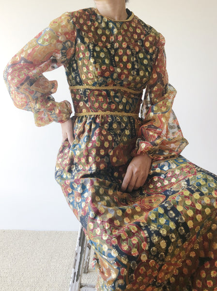 1960s Bronze Abstract Lurex Gown - S