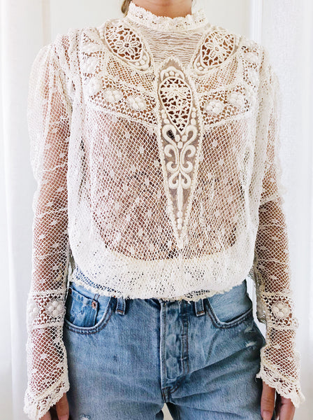 Antique Crochet Irish Lace Top with Embroidery - S