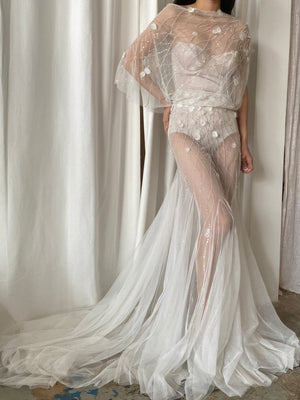 Beaded Sheer Tulle Gown - M/L