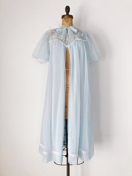 1960s Light Blue Nylon Dressing Gown - One Size
