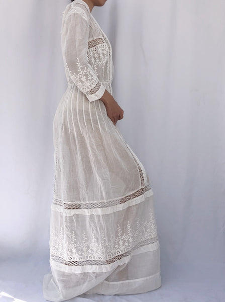 Antique Paneled Embroidered Dress - S