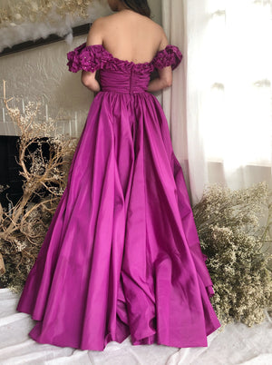 Vintage Off Shoulder Magenta Dress - XS