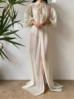 1960s Sheer Pleated Dressing Gown - One Size