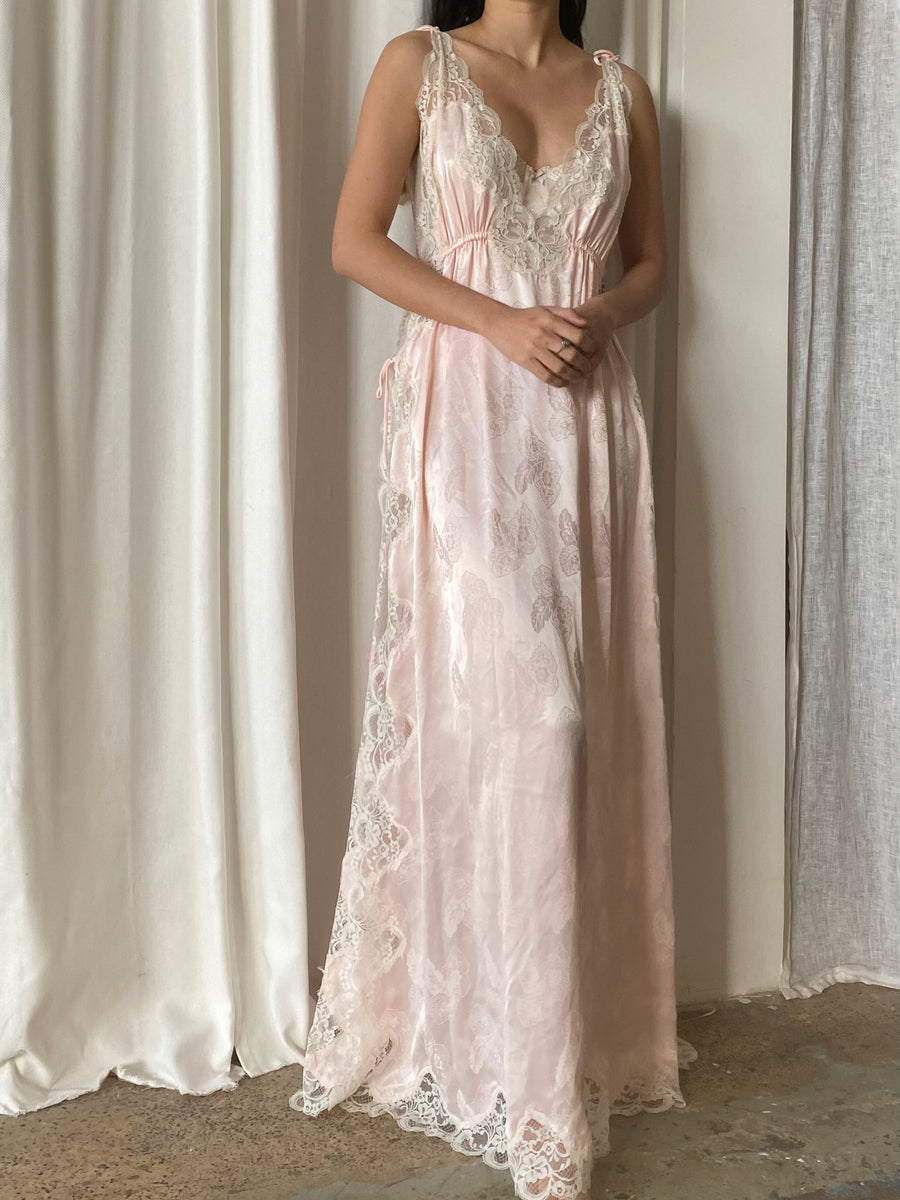 1960s Pink Open Sides Slip Gown - S