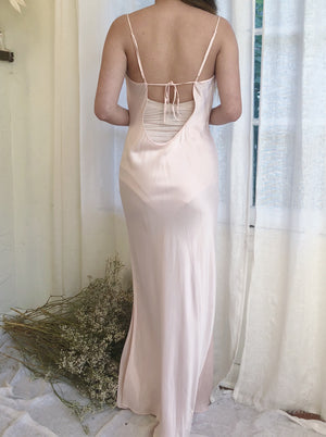 Pink Silk Bias Cut Silk Long Dress - M