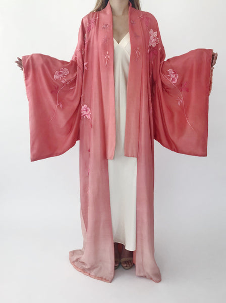 Antique Silk Ombré Silk Rose Kimono - One Size