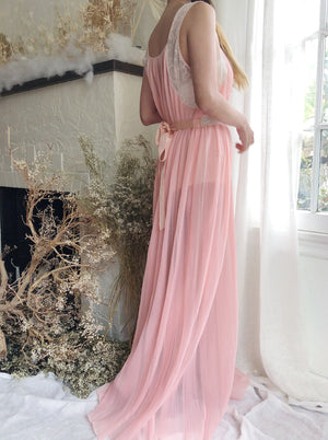 Vintage Pleated Sheer Pink Dress - XS