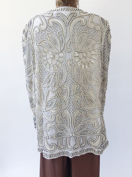 1980s Ivory Silk Heavily Beaded Jacket - M