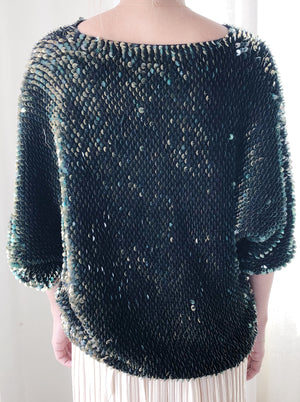 1980s Iridescent Green Mermaid Sweater - S/M