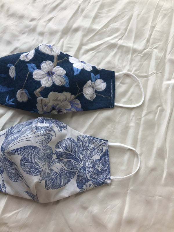 2-in-1 Reversible Linen/Cotton Face Mask - Blue Chinoiserie Print