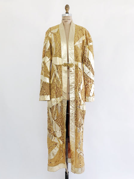 Vintage Gold Metallic and Lace Duster - S/M