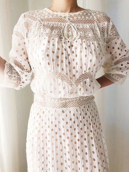 Antique Cotton Muslin Eyelet Dress - S/M