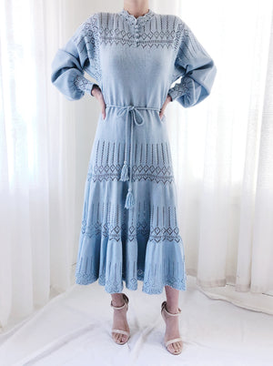 1950s Light Blue Poet Sleeve Knit Dress - M/L