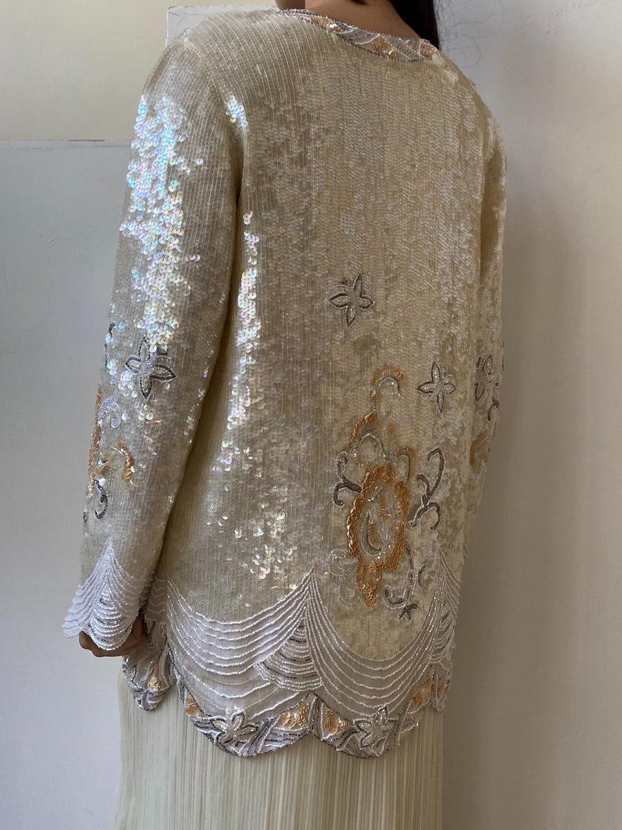 1980s Silk Beaded Jacket- M