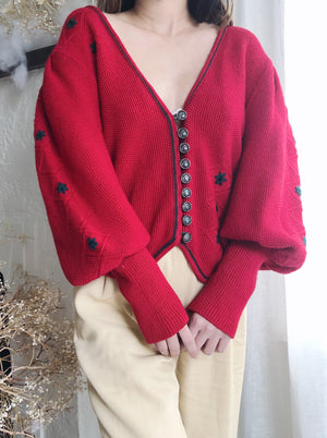 Rare Vintage Red Mutton Sleeves Wool Cardigan  - M
