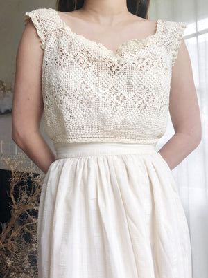 Antique Cropped Crochet Knit Top - S/M