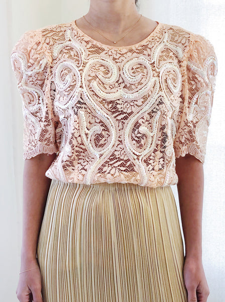 Vintage Sequin Peach Top - S