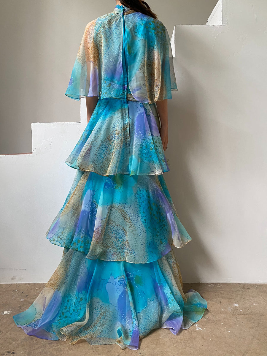 1960s Abstract Layered Chiffon Gown - S