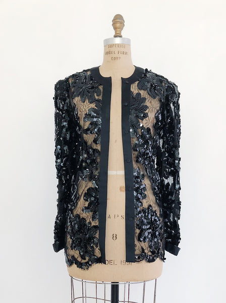 Vintage Adolfo Black Silk and Lace Sequined Jacket - M