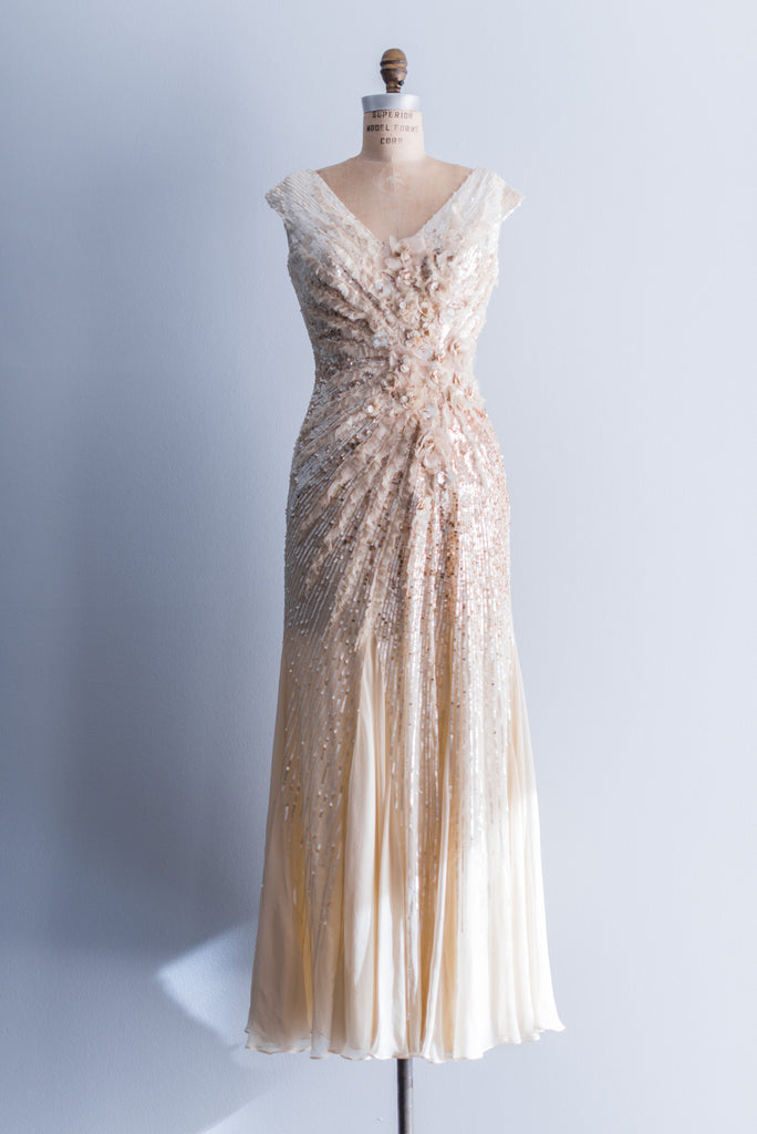 Reserved Silk Beaded Cream And Gold Wedding Gown Xs S