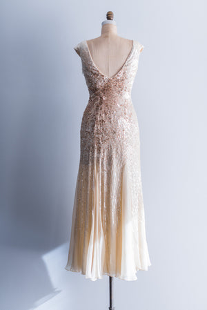 RESERVED Silk Beaded Cream and Gold Wedding Gown - XS/S