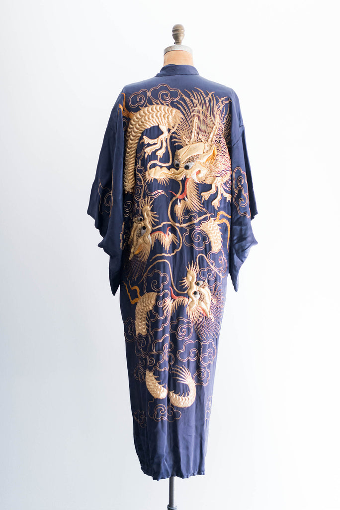 f72d842d64 SOLD  Vintage Silk Satin Gold 3-D Embroidered Robe ...