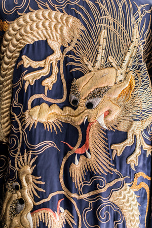 [SOLD] Vintage Silk Satin Gold 3-D Embroidered Robe