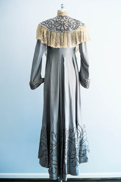 Victorian Powder Blue Wool Lace Walking Dress