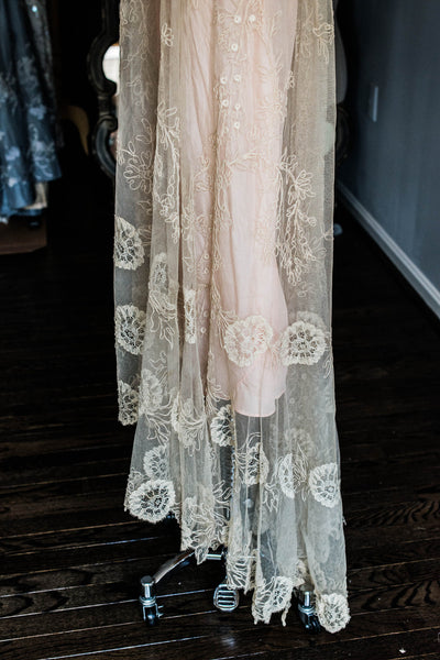 [SOLD] Antique Silk Skirt with Soustache Embroidered Lace