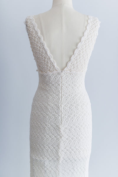 [SOLD] Vintage Crochet Lace and Silk Chiffon Dress - S/M