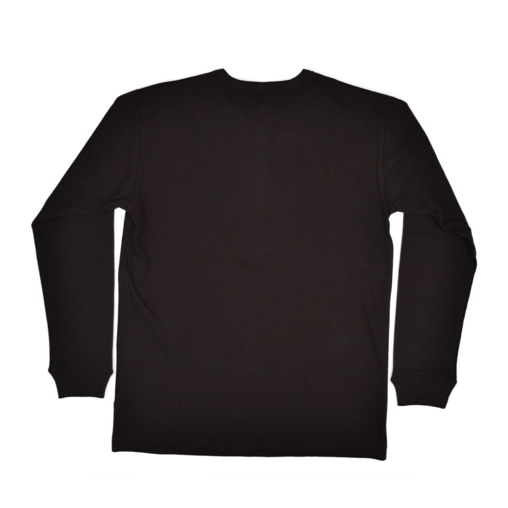 LONG SLEEVE HENLEY - BLACK