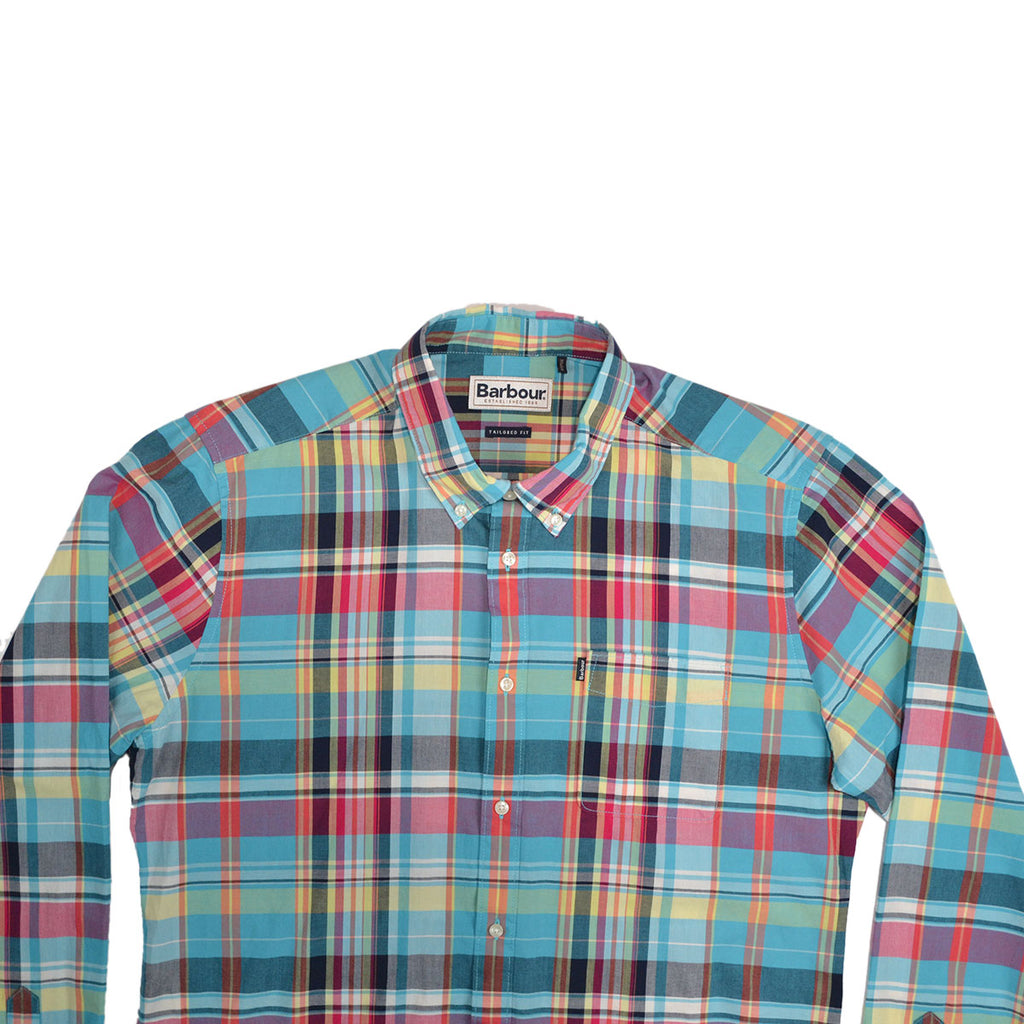 MADRAS 2 TAILORED FIT L/S SHIRT - AQUA