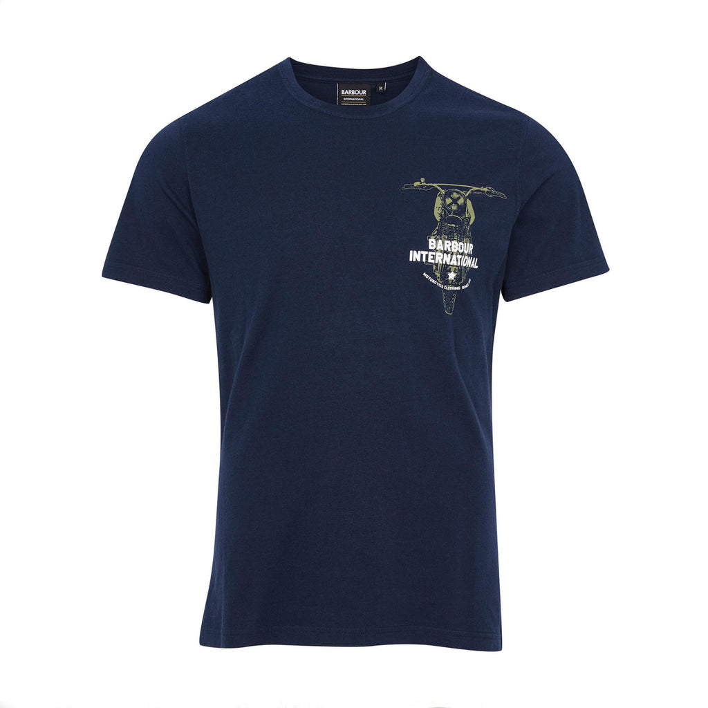 BARBOUR INTERNATIONAL BIKE PRINT TEE - NAVY